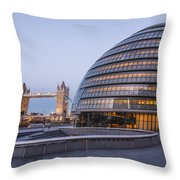 London City Hall And Tower Bridge. Throw Pillow