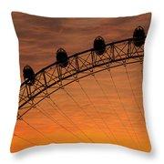 London Eye Sunset Throw Pillow