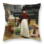 London Flower Girls Piccadilly Circus Throw Pillow