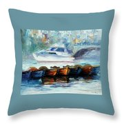 London-fog Over Thames - Palette Knife Oil Painting On Canvas By Leonid Afremov Throw Pillow