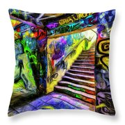 London Graffiti Van Gogh Throw Pillow