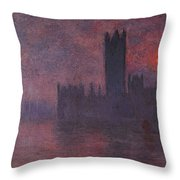 London Houses Of Parliament At Sunset  Throw Pillow