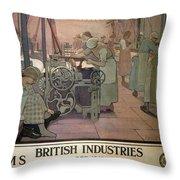 London Midland And Scottish Railway, British Industries - Retro Travel Poster - Vintage Poster Throw Pillow