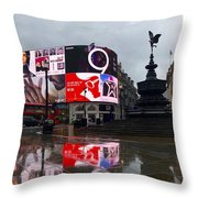 London Piccadilly On A Rainy Day Throw Pillow