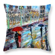 London Rainy Evening Throw Pillow