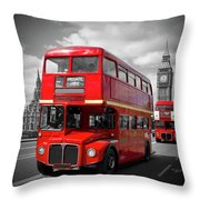 London Red Buses On Westminster Bridge Throw Pillow