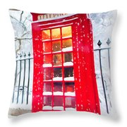 London Red Telephone Booth  Throw Pillow