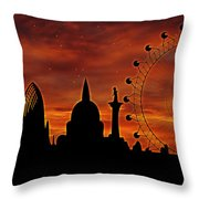 London Skyline At Dusk Throw Pillow