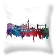 London Skyline City Blue Throw Pillow