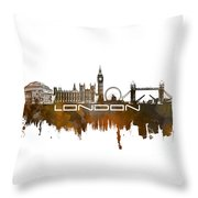 London Skyline City Brown Throw Pillow