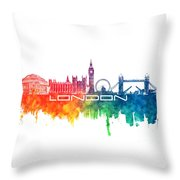 London Skyline City Color Throw Pillow