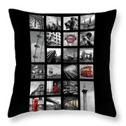 London Squares Throw Pillow