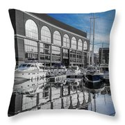 London. St. Katherine Dock. Reflections. Throw Pillow