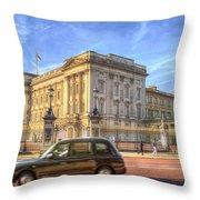 London Taxi And Buckingham Palace  Throw Pillow