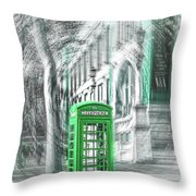 London Telephone Green Throw Pillow