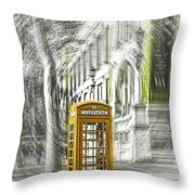 London Telephone Yellow Throw Pillow
