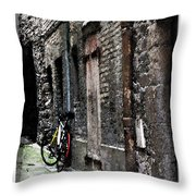 Lone Bike In France Throw Pillow