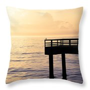 Lone Bird At Morning Throw Pillow