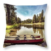 Lone Canoes, Winchester Lake Throw Pillow
