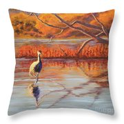 Lone Crane Still Water Throw Pillow