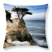 Lone Cypress Tree Pebble Beach  Throw Pillow