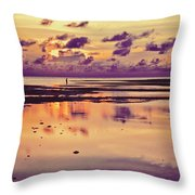 Lone Fisherman In Distance During Beautiful Reflected Sunset With Dramatic Clouds In Maldives Throw Pillow
