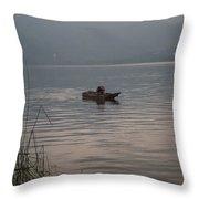 Lone Fisherman Lake Atitlan Throw Pillow
