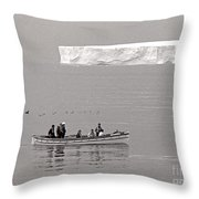 Lone Giant Iceberg And Small Sea Boat Throw Pillow