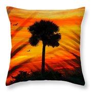 Lone Palm Florida Throw Pillow