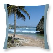 Lone Palm On Barbados Coast Throw Pillow