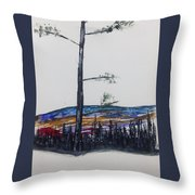 Lone Pine Over The Valley Throw Pillow