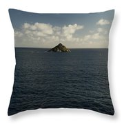 Lone Rock Island In The Middle Of Vast Throw Pillow