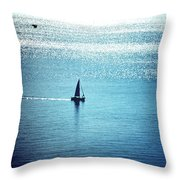 Lone Sailboat At Dawn Throw Pillow