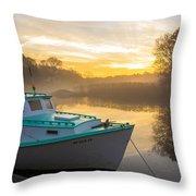 Lone Shark At Dawn Throw Pillow
