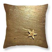 Lone Starfish On The Beach Throw Pillow