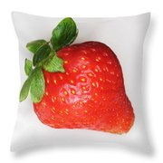 Lone Strawberry Throw Pillow