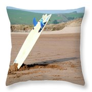 Lone Surfboard Throw Pillow