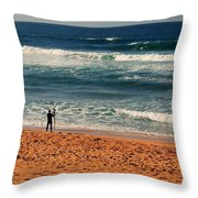Lone Surfer Throw Pillow