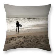 Lone Surfer II Throw Pillow