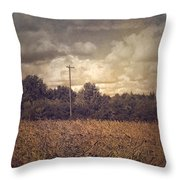 Lone Telephone Pole In Autumn Field Throw Pillow