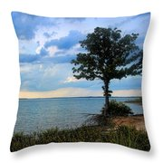 Lone Tree And Beach Flowers Throw Pillow