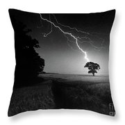 Lone Tree And Lightning Throw Pillow