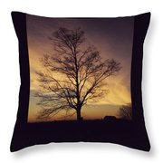 Lone Tree At Sunrise Throw Pillow
