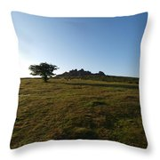 Lone Tree, Dartmoor Throw Pillow