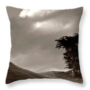 Lone Tree On A New Zealand Hillside Throw Pillow