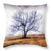 Lone Tree On Hill In Winter Throw Pillow