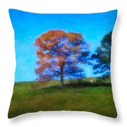 Lone Trees Painting Throw Pillow