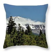 Lonely As God And White As A Winter Moon - Mount Shasta California Throw Pillow by Christine Till