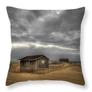 Lonely Beach Shacks Throw Pillow