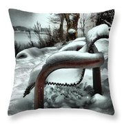 Lonely Bench In Snowfall Throw Pillow